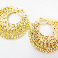 2 Large Exotic Filigree Chandelier Earring Component Pendant - 22k Matte Gold Plated