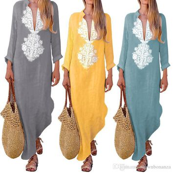 Spring Autumn Cotton Linen Long Dresses Women Long Sleeve Maxi Dress Female Casual deep V neck irregular Dresses plus size 3XL Vestido