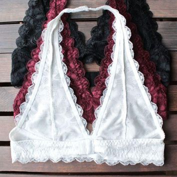 DCCK7XP Lace Halter Bralettes (Black, Burgundy, White)