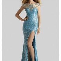 Clarisse 2014 Turquoise Multi High Neck Elegant Back Sequin and Beaded Prom Gown 2377 | Promgirl.net