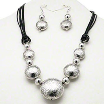 Silver and Black Textured Baubles Statement Necklace and Earrings Jewelry Set