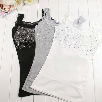 Fashion Women Rhinestone Sleeveless Lace Tops Stunning Vest Tank Tops T-shirt Blouse Yoga black grey white one size = 1932577028