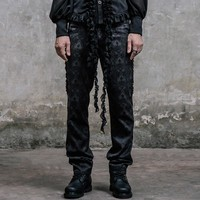 Devil Fashion Gothic Victorian Black Silk Pants Men High Waist Trousers Steampunk Fashion Embroidery Pants