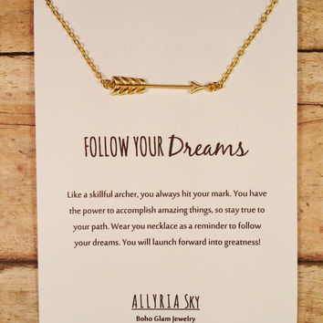 """Beautiful Gold Plated Arrow Necklace with """"Follow Your Dreams"""" Card 