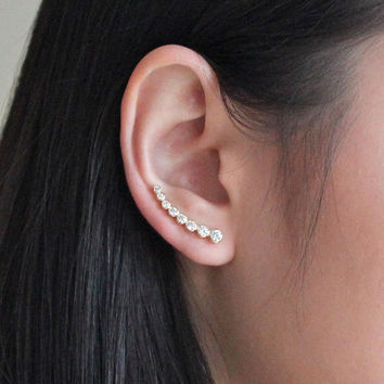 Simple and Beautiful Pair of Ear Cuffs,  Crystals, Ear Jackets, Gift Ideas