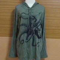 Loose Fit Shirt Womens Wrinkled cotton Hoodie Octopus shirt tentacles sea marine T Shirt animals Hood Tee size L/XL Long sleeve Shirt