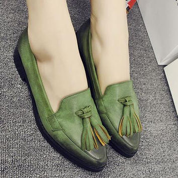 Preppy style Vintage Tassel Women Flats Spring/Autumn Casual Lady Loafers Brogue Shoes Pointed Toe Slip-On Oxfords shoes 1.9