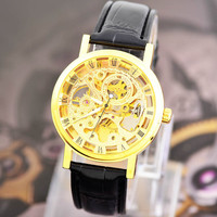 Casual Leather Strap Hollow Automatic Mechanical Watch Men