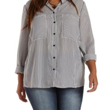 Plus Size Oversized Striped Button-Up Top