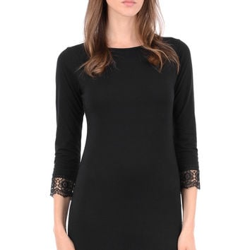 Black Bodycon Dress With Lace Sleeves
