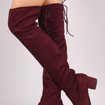 Drawstring-Tie Suede Block Heeled Over-The-Knee Boots