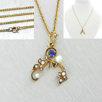 1880s Antique Victorian 14k Solid Yellow Gold Pearl Sapphire Pendant Necklace