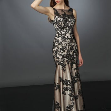 im-11661-s Evelyn - Fitted lace over satin gown