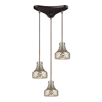 46023/3 Danica 3 Light Pendant In Oil Rubbed Bronze And Mercury Glass - Free Shipping!