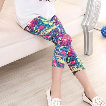 Pink Paint Splatter Leggings Calf Length