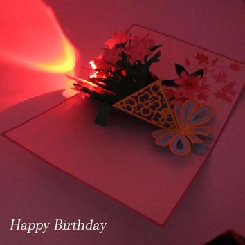 Flowers 3D Laser Cut Pop Up Greeting Card Postcards Happy Birthday Christmas Music LED Lighting Handmade Paper Craft Cards