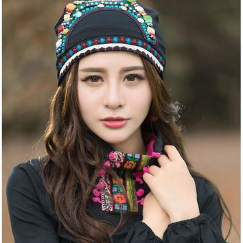 Cheshanf Mexican Style Ethnic Vintage Black Blue Red Beading Bandanas Women Winter Original Hippie Hat Skullies Free Shipping