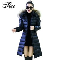 TLZC New Women Down Coats Size L-5XL Popular Long Style Lady Warm Women Parkas Black / Dark Blue Woman Hooded Design Outwears