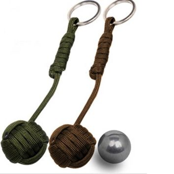 2017 NEW Security protection Black Monkey Fist Steel Ball Bearing Self Defense Lanyard Survival Key Chain mini Outdoor EDC