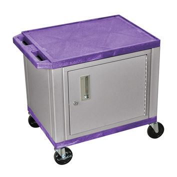 H. Wilson 2 Shelf Mobile Multipurpose Purple Nickel Utility Cart Lockable Storage Cabinet 3 Electrical Outlet
