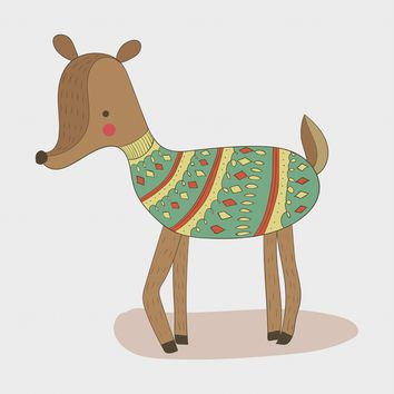 Contemporary Reindeer in a Colorful Knit Sweater Hand Embroidery Pattern