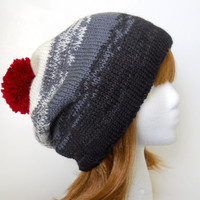 Mt Hood Super Slouch Beanie Souchy Handknit Hat in Ombre Shades of Black, Grey, and Ivory with Pom Pom