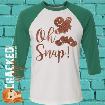 Oh Snap! Gingerbread Man 3/4 Sleeve Raglan