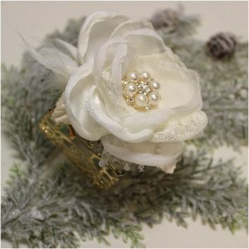 PARIS CHIC wrist corsage wedding cuff bracelet -ivory gold