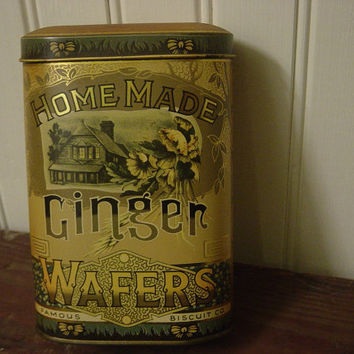 Vintage English Biscuit Tin Home Made Ginger Wafers Advertising Retro Kitchen Farmhouse Decor