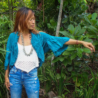 Beautiful Handmade Boho Light Jacket. 2 Colors. Gray or Blue-Green.