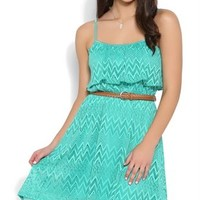 Tribal Crochet Dress with High Low Hem and Braided Belt