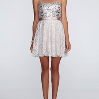 Strapless Short Dress with Lace Skirt and Sequin - David's Bridal- mobile