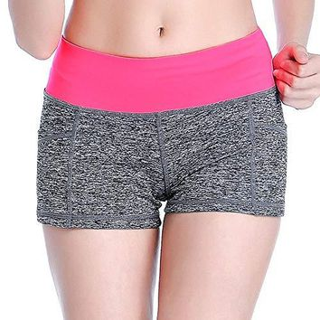 Women  Summer Sports Running Yoga Elastic Short with Pockets Workout Fitness Pants
