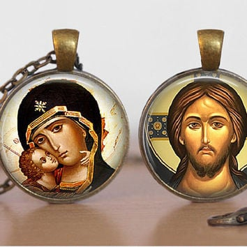 Orthodox Icon Pendant Necklace Religious Theotokos Jesus Christ Glass Tile Pendant Double Sided