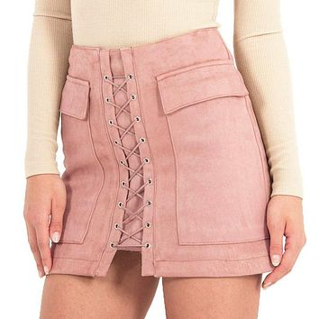 Women Skirt Vintage Pocket Short Skirt  Apparel Autumn Lace Up Suede Leather Winter High Waist Casual Skirts