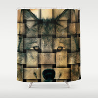 Woven Wolf Shower Curtain by Nirvana.K | Society6