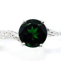 Emerald Diamond Ring .925 Sterling Silver Rhodium Finish White Gold Quality
