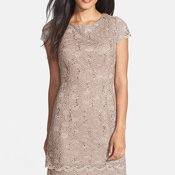 Petite Women's Alex Evenings Tiered Lace Sheath Dress