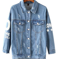 Letter Print Denim Shirt Collar Long Sleeve Jacket