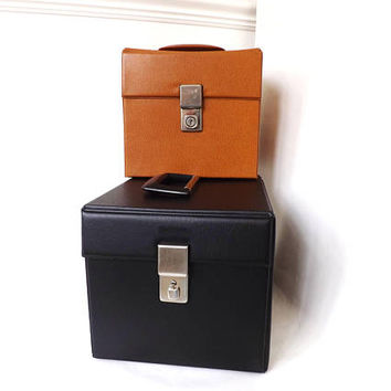 Vintage Vinyl 45rpm Record Case, Retro EP Storage Carrying Case, Faux Leather Vinyl Box 1960s 7in Record Holder, Music Lovers Organizer