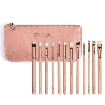 Authentic 1- 12 pcs Zoeva ROSE GOLDEN  COMPLETE EYE Brush SET For Make UP