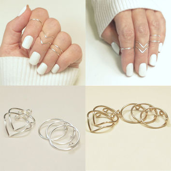 5Pcs Set Simple Above Knuckle Finger Rings V Shape Women Rings Fine Finger Rings Jewelry
