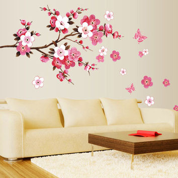 Cherry Blossom Wall Poster Waterproof Background Wall Sticker for Living Room Bedroom Cafe Home Decor