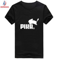 Men's Pokemon Print Tee Shirt Camiseta Fashion Summer Short Sleeve Manga Pikachu Clothes Women Pika Funny T-shirt,PY011