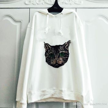 bling bling heavyweight Sequins cat head hoodie Sweatshirt Winter men or women hoodies Metal sequins pullover mens sweatshirt