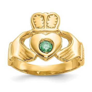 14K Yellow Gold Imitation Green Stone Claddagh Ring