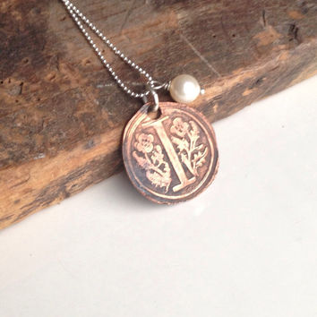 Etsy, Etsy Jewelry, I Necklace, Monogram Necklace, Edwardian Style, Old World Style, Copper Metal Clay, Kiln Fired, Sterling Silver