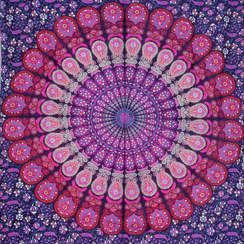 Indian Hippie Tapestry Bohemian Decor Bedspread Throw Twin Mandala Wall Hanging