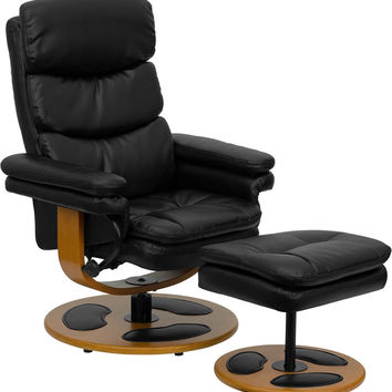 Contemporary Black Leather Recliner Chair and Ottoman with Wood Base
