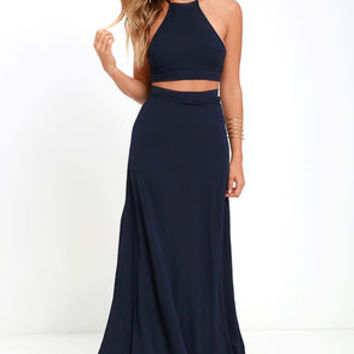 Walking on Heir Navy Blue Two-Piece Dress